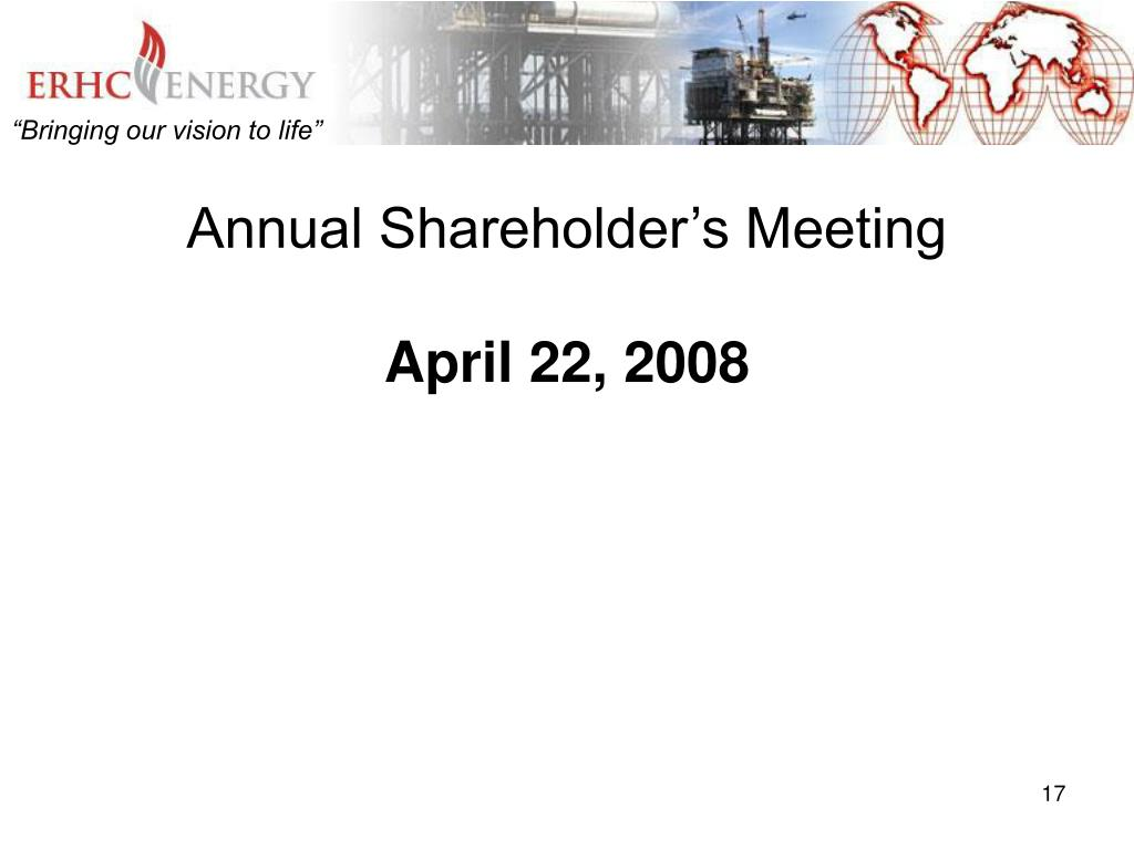 Annual Shareholder's Meeting