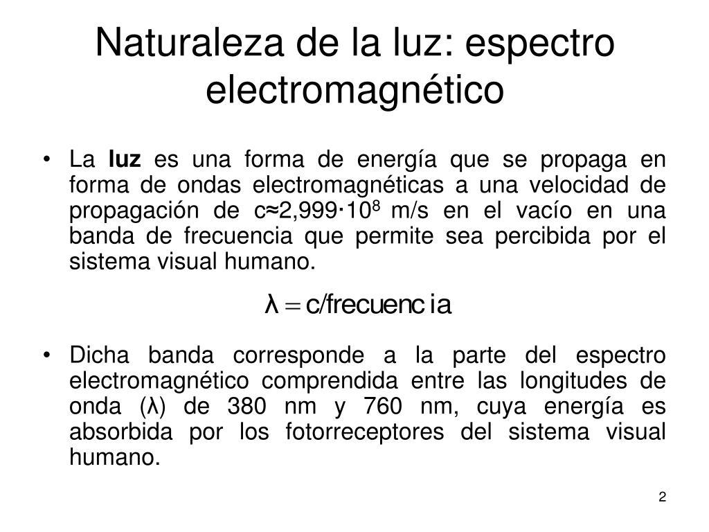 Naturaleza de la luz: espectro electromagnético