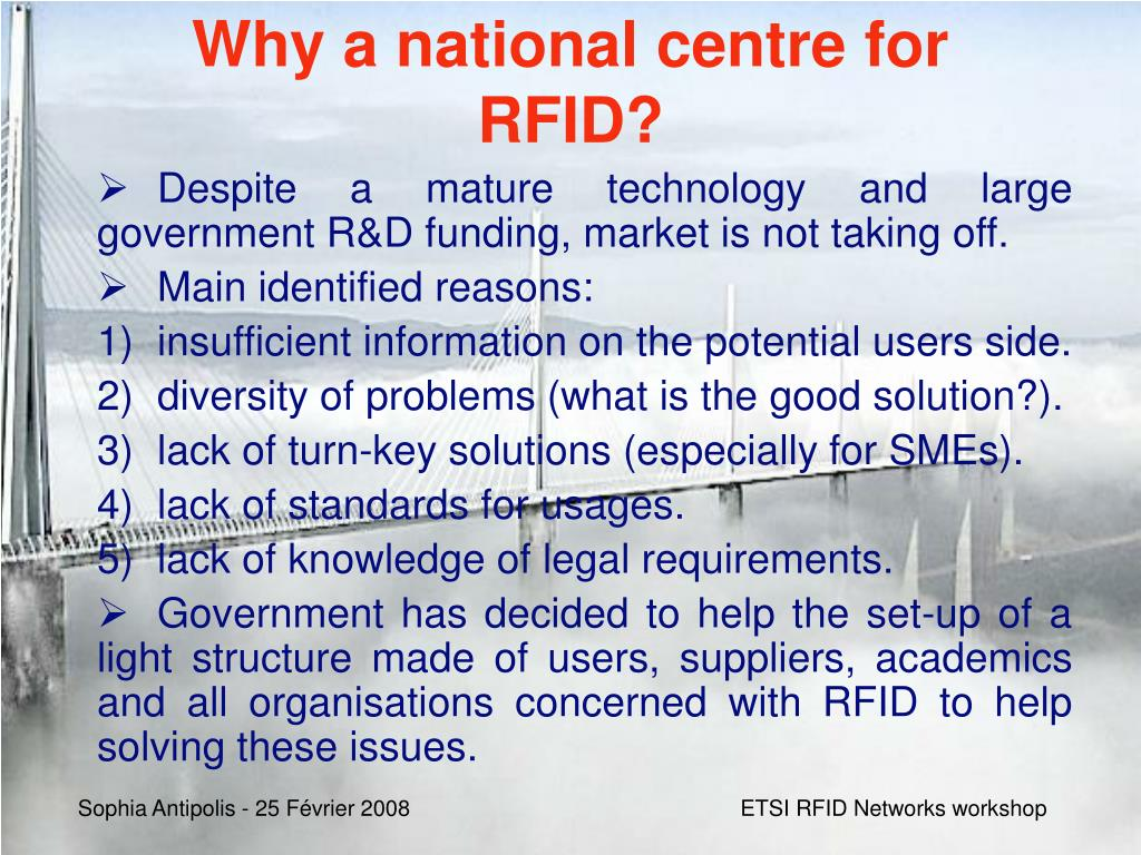 Why a national centre for RFID?