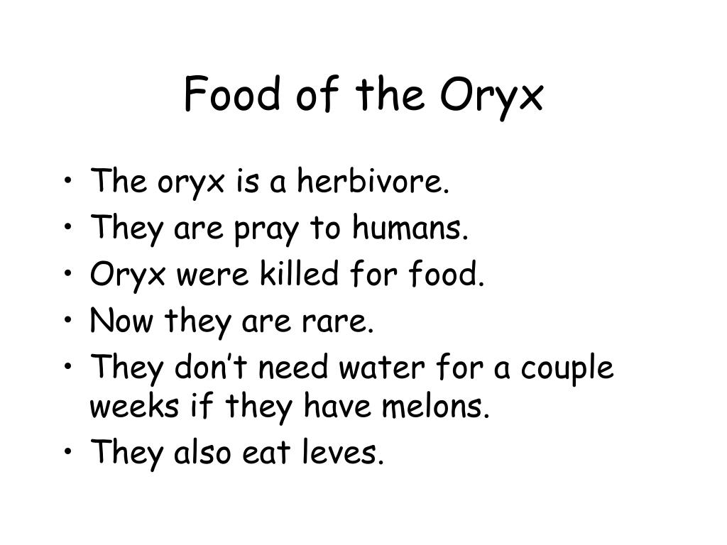 Food of the Oryx