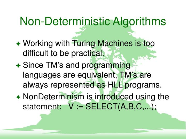 Non-Deterministic Algorithms