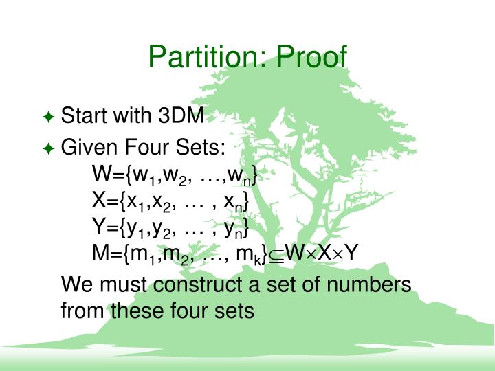 Partition: Proof