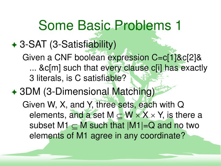 Some Basic Problems 1