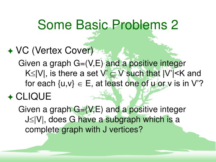 Some Basic Problems 2