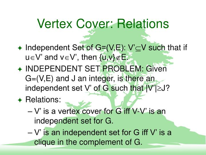 Vertex Cover: Relations