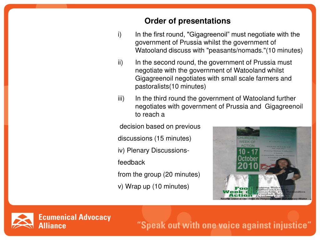Order of presentations