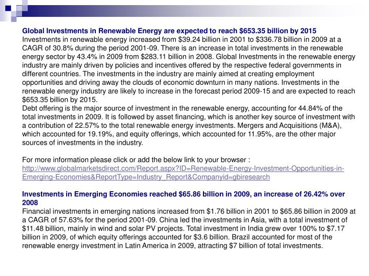 Global Investments in Renewable Energy are expected to reach $653.35 billion by 2015