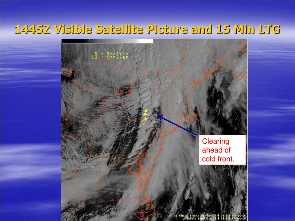 1445Z Visible Satellite Picture and 15 Min LTG
