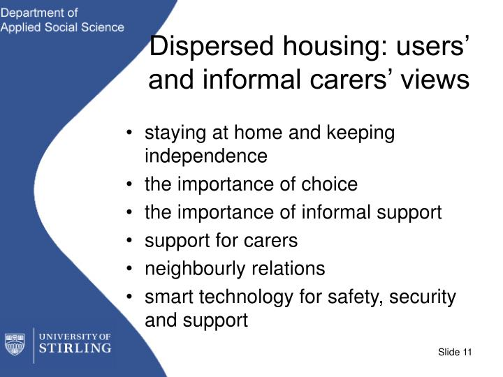 Dispersed housing: users' and informal carers' views