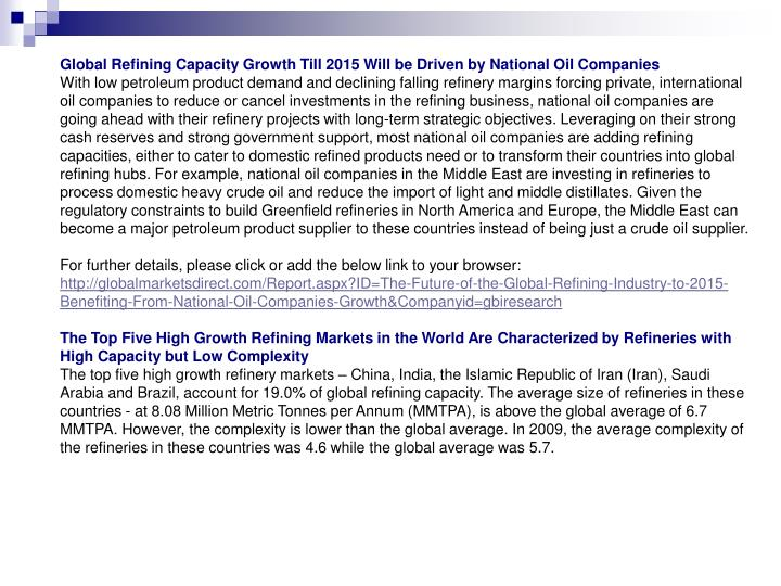 Global Refining Capacity Growth Till 2015 Will be Driven by National Oil Companies