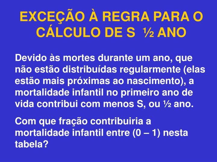 EXCEÇÃO À REGRA PARA O CÁLCULO DE S  ½ ANO