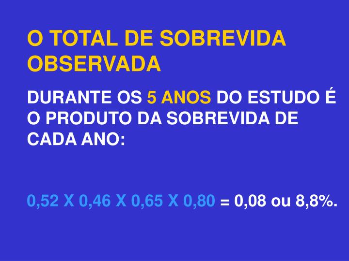 O TOTAL DE SOBREVIDA OBSERVADA