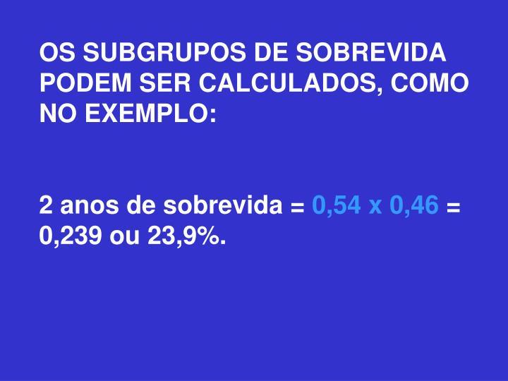 OS SUBGRUPOS DE SOBREVIDA PODEM SER CALCULADOS, COMO NO EXEMPLO: