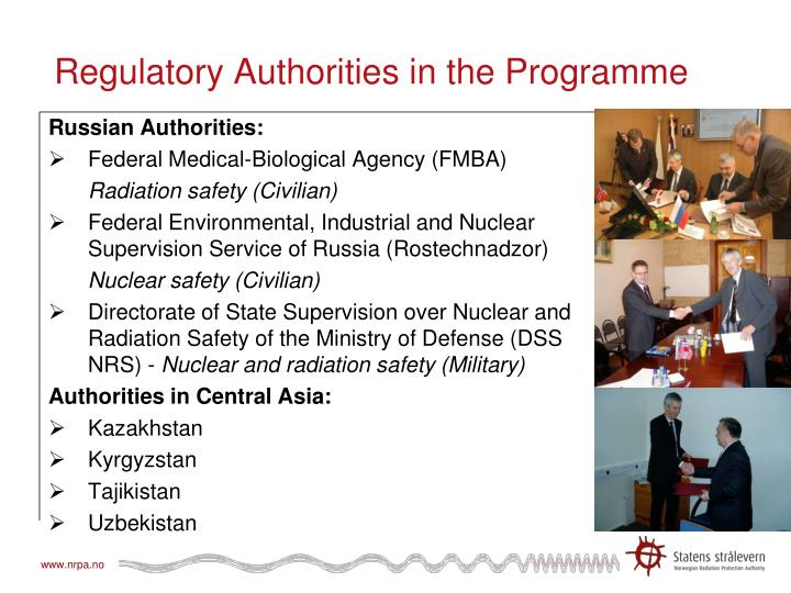 Regulatory authorities in the programme