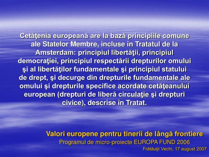 Cetăţenia europeană are la bază principiile comune ale Statelor Membre, incluse în Tratatul de la Amsterdam: principiul libertăţii, principiul democraţiei, principiul respectării drepturilor omului şi al libertăţilor fundamentale şi principiul statului de drept, şi decurge din drepturile fundamentale ale omului şi drepturile specifice acordate cetăţeanului european (drepturi de liberă circulaţie şi drepturi civice), descrise în Tratat.