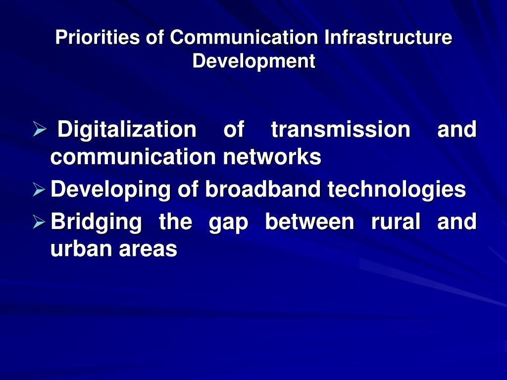 Priorities of Communication Infrastructure Development