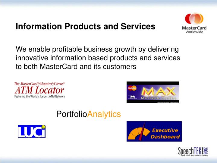 Information Products and Services