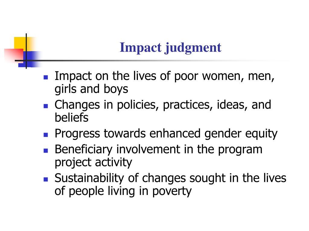 Impact judgment