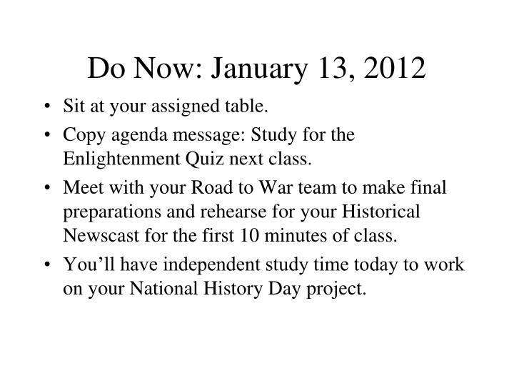 Do Now: January 13, 2012