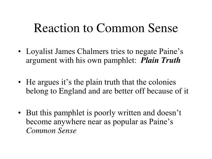 Reaction to Common Sense