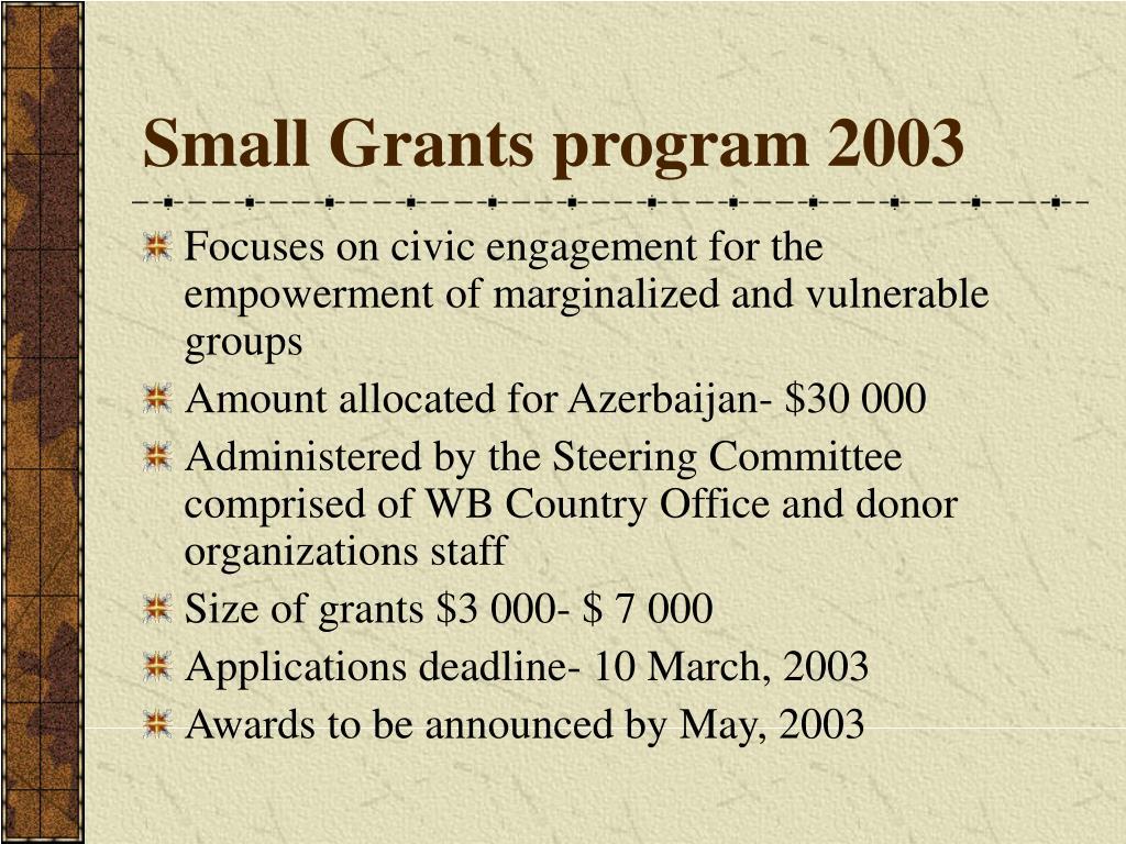 Small Grants program 2003
