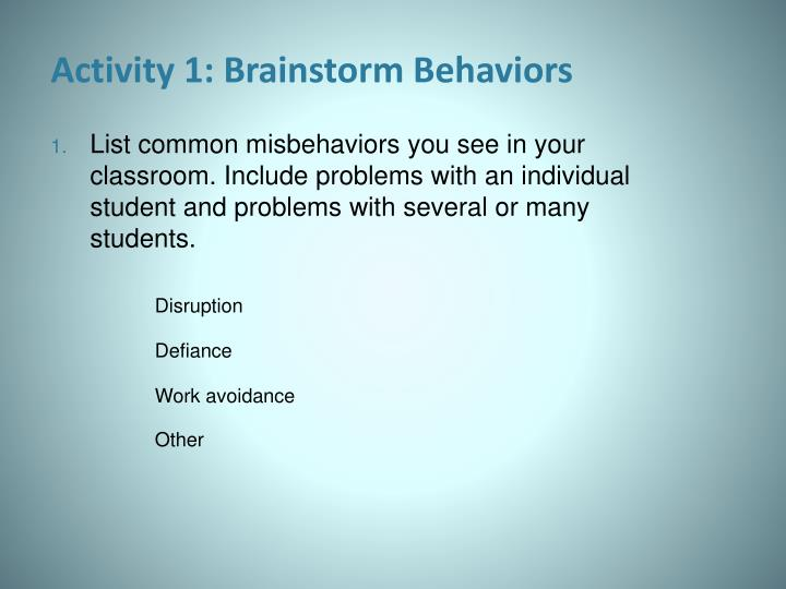 Activity 1: Brainstorm Behaviors