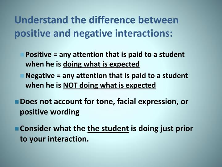 Understand the difference between positive and negative interactions: