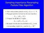 sampling importance resampling particle filter algorithm