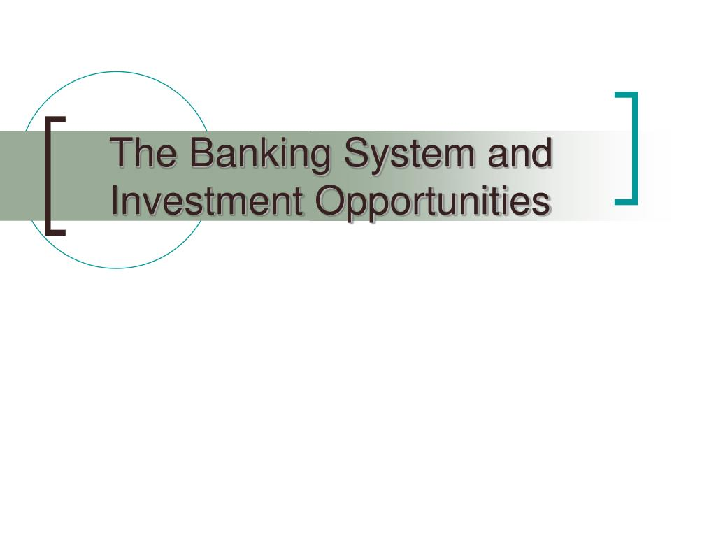The Banking System and Investment Opportunities