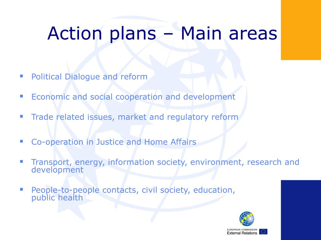 Action plans – Main areas