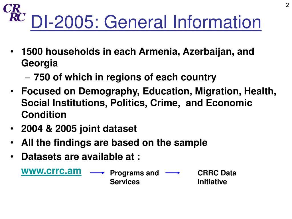 DI-2005: General Information