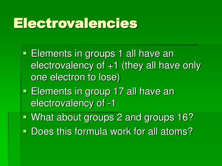 Electrovalencies