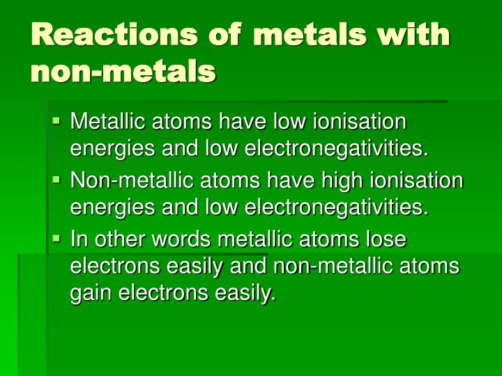 Reactions of metals with non-metals