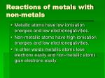 reactions of metals with non metals