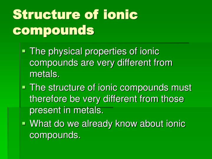 Structure of ionic compounds