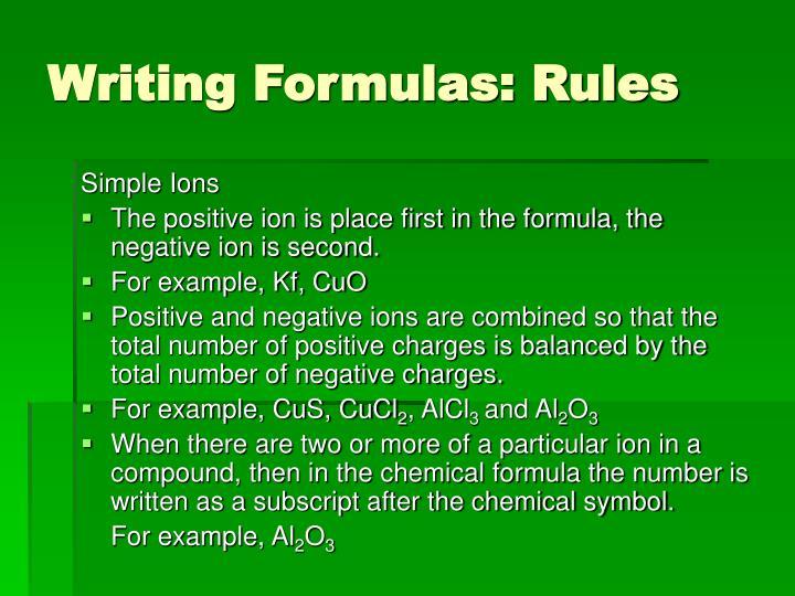 Writing Formulas: Rules