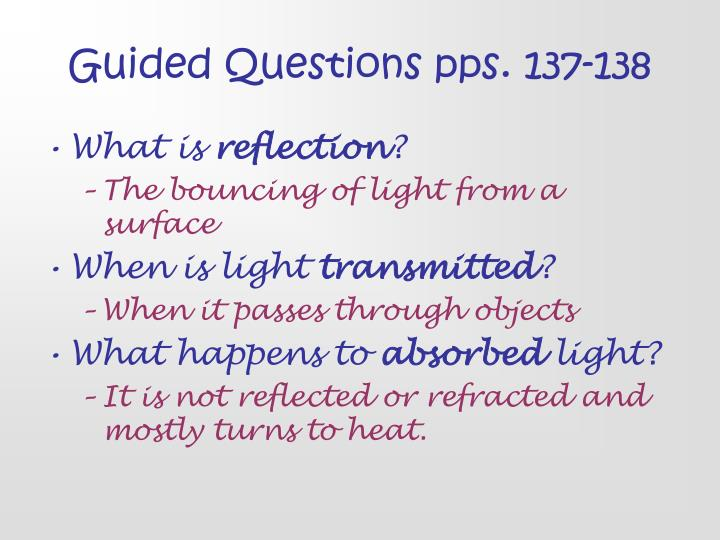 Guided Questions pps. 137-138