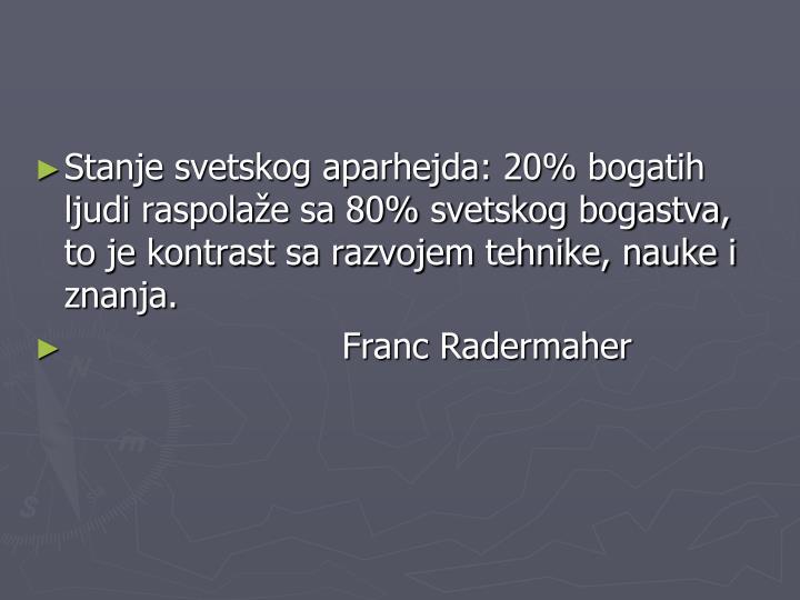 Stanje svetskog aparhejda: 20% bogatih ljudi raspolaže sa 80% svetskog bogastva, to je kontrast sa razvojem tehnike, nauke i znanja.