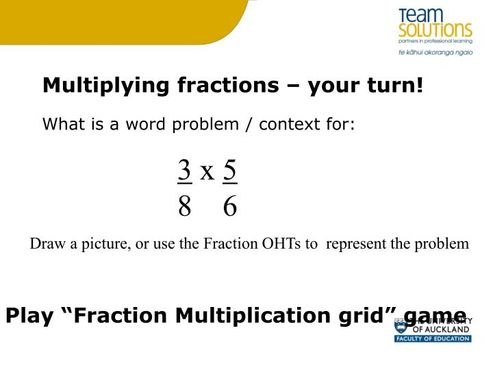 Multiplying fractions – your turn!