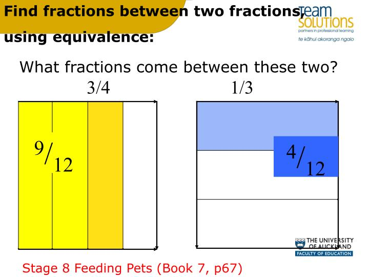 Find fractions between two fractions,