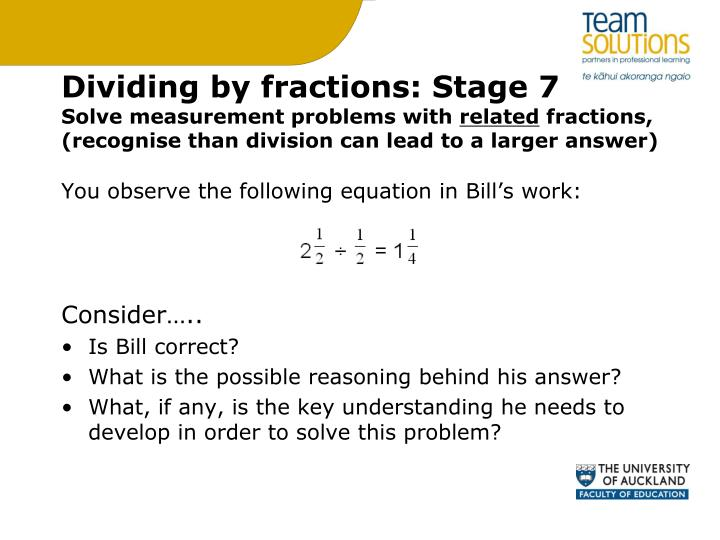 Dividing by fractions: Stage 7