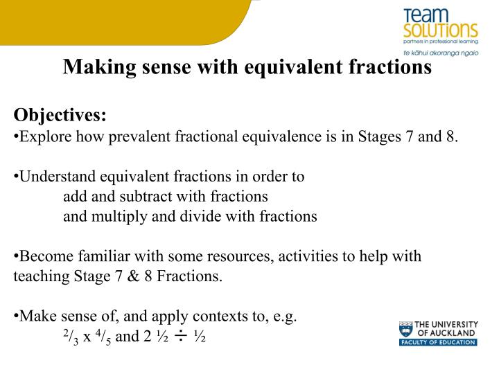 Making sense with equivalent fractions