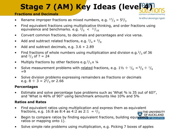 Stage 7 (AM) Key Ideas (level 4)