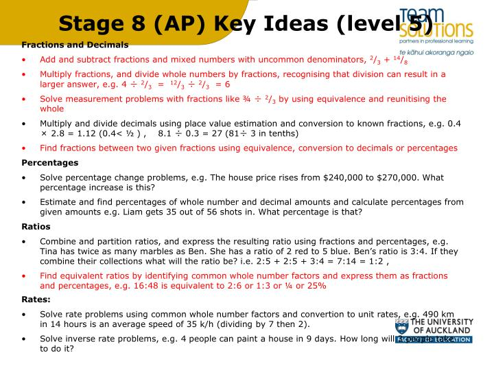 Stage 8 (AP) Key Ideas (level 5)