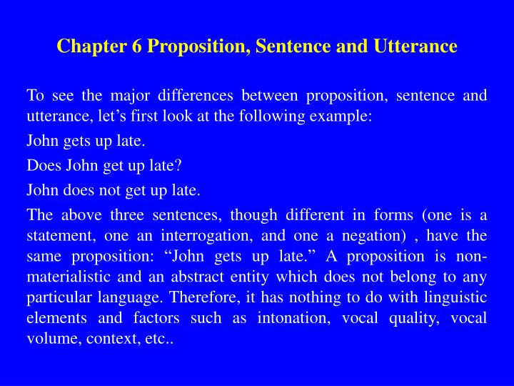 the relationship among proposition sentence and utterance