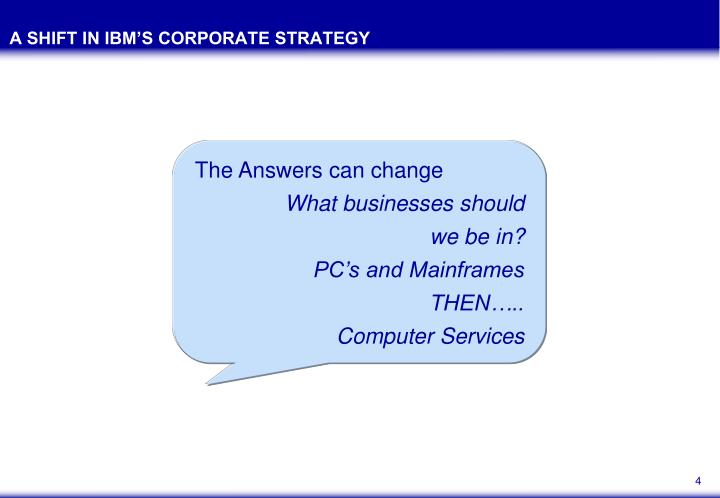 A SHIFT IN IBM'S CORPORATE STRATEGY
