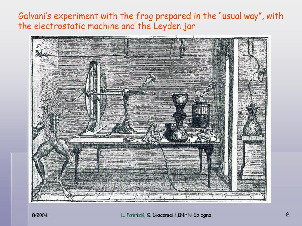 "Frog prepared in the usual way for the experiment with the ""Electrostatic machine"" and the ""Leyden jar"""