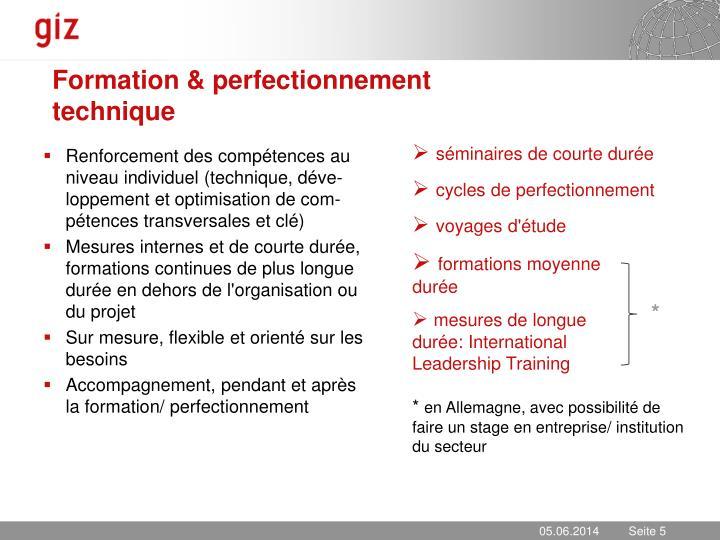Formation & perfectionnement technique
