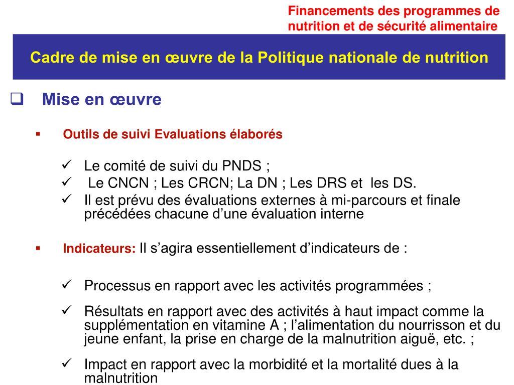 Financements des programmes de nutrition et de sécurité alimentaire