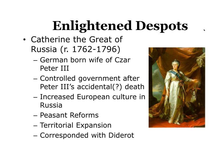 enlightened despotism Enlightened despotism and its equal, enlightened absolutism, are terms historians use to describe the policies of several 18th-century european monarchs.